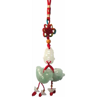 Amulette d'amour : couple canards mandarins en jade