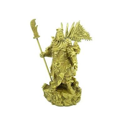 Très grand Kwan Kung, dieu de la richesse aux 9 dragons en bronze