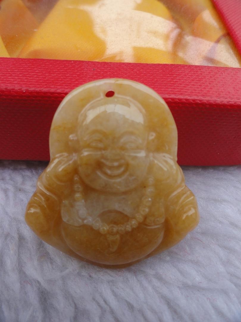 pendentif porte bonheur du bouddha de la richesse en jade jaune bijoux pendentif magie d 39 asie. Black Bedroom Furniture Sets. Home Design Ideas