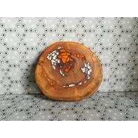 Dessous de plat bois avec incrustations verre
