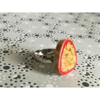 Bague ajustable petit galet japonais orange 1