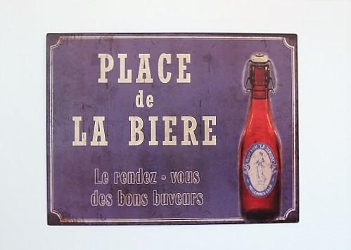 Plaque métal place de la bière