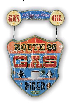 Plaque Route 66 Gas Diner