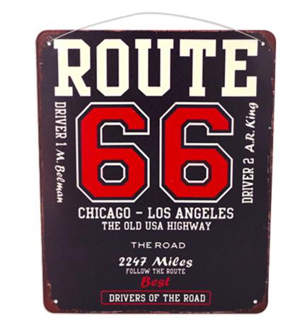 Plaque Route 66 Chicago - Los Angeles Vintage
