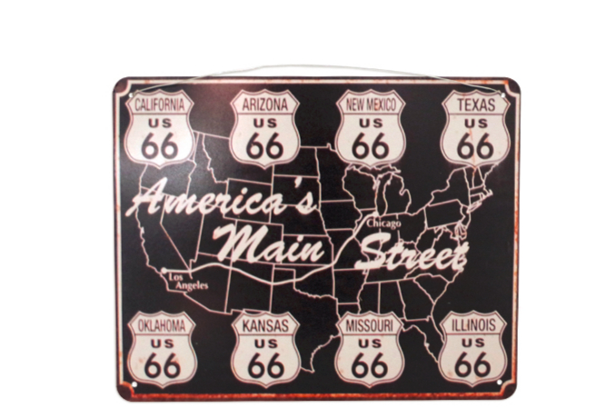 Plaque route 66 America Main Street rétro