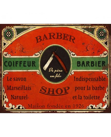 Plaque murale vintage barbier