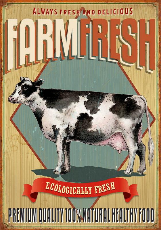 Plaque vintage vache