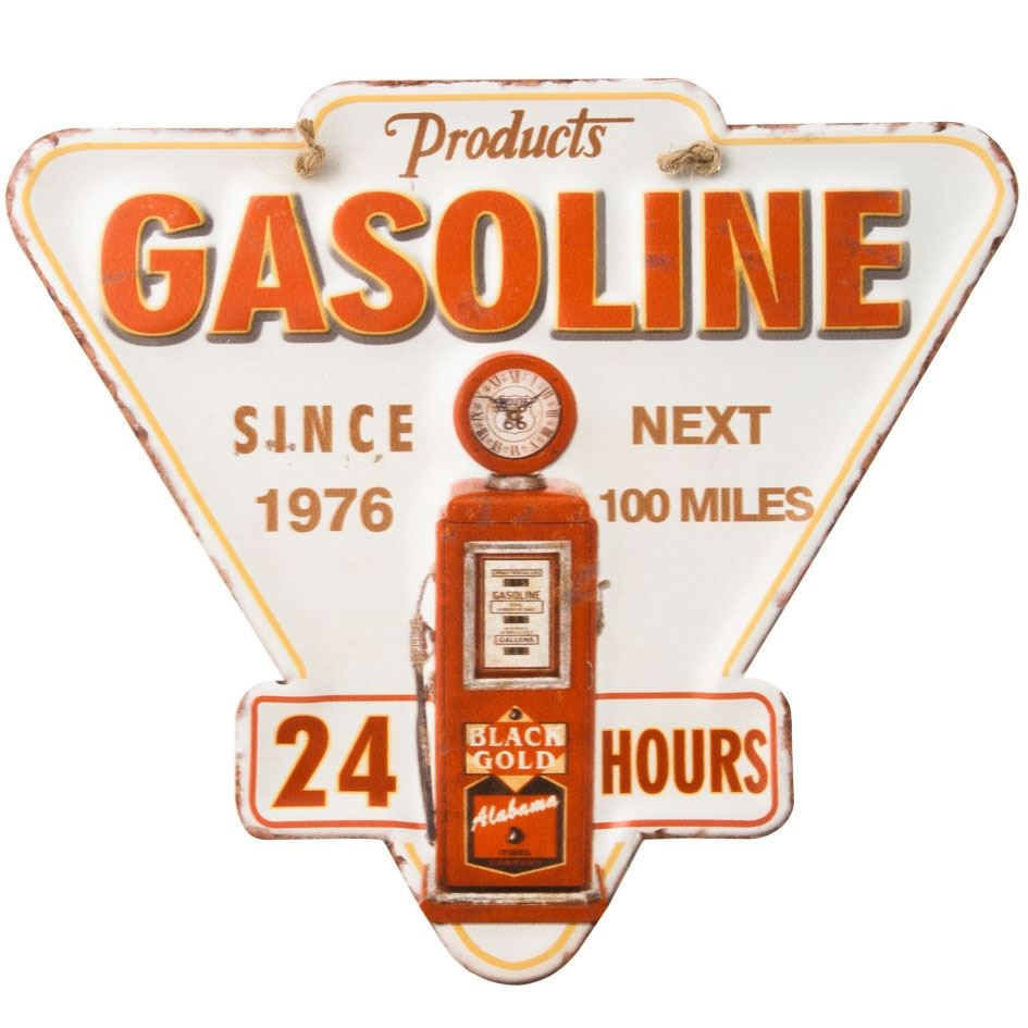 Plaque métal gasoline 24H