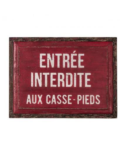 plaque- vintage -en-bois-entre-interdite