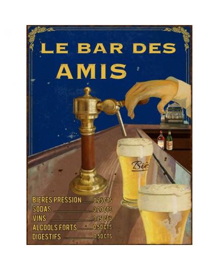 Plaque vintage bar des amis