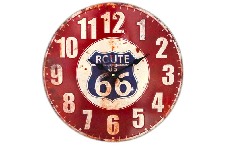 Horloge Route 66 rouge