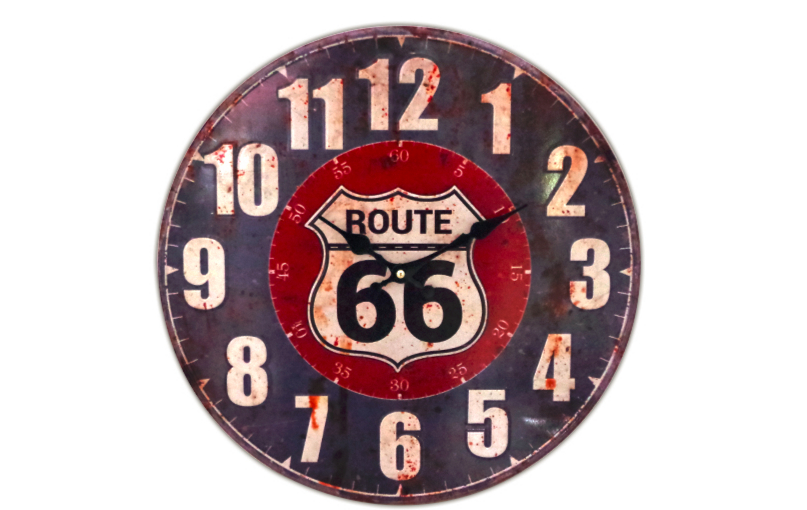Horloge Route 66 bleue