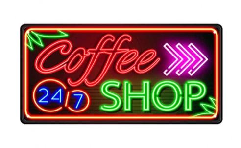 Plaque coffee shop effet néon