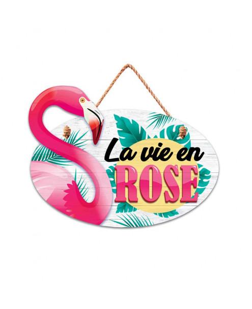 Plaque bois flamant rose