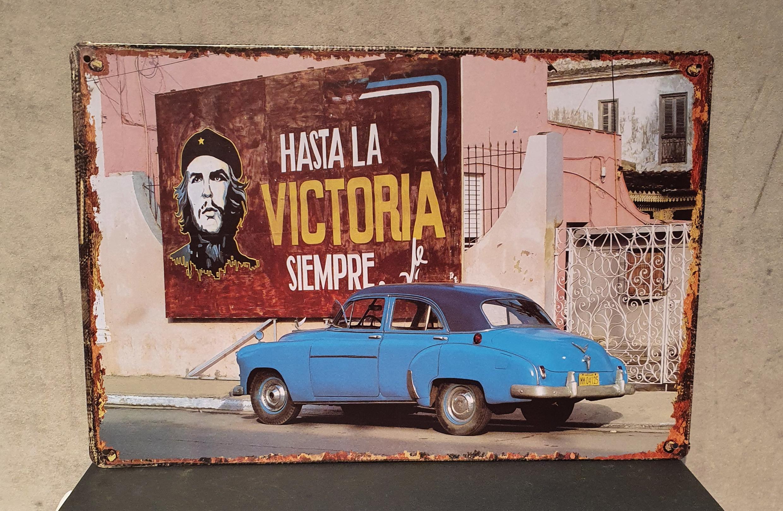 Plaque métal Cuba Hasta la victoria