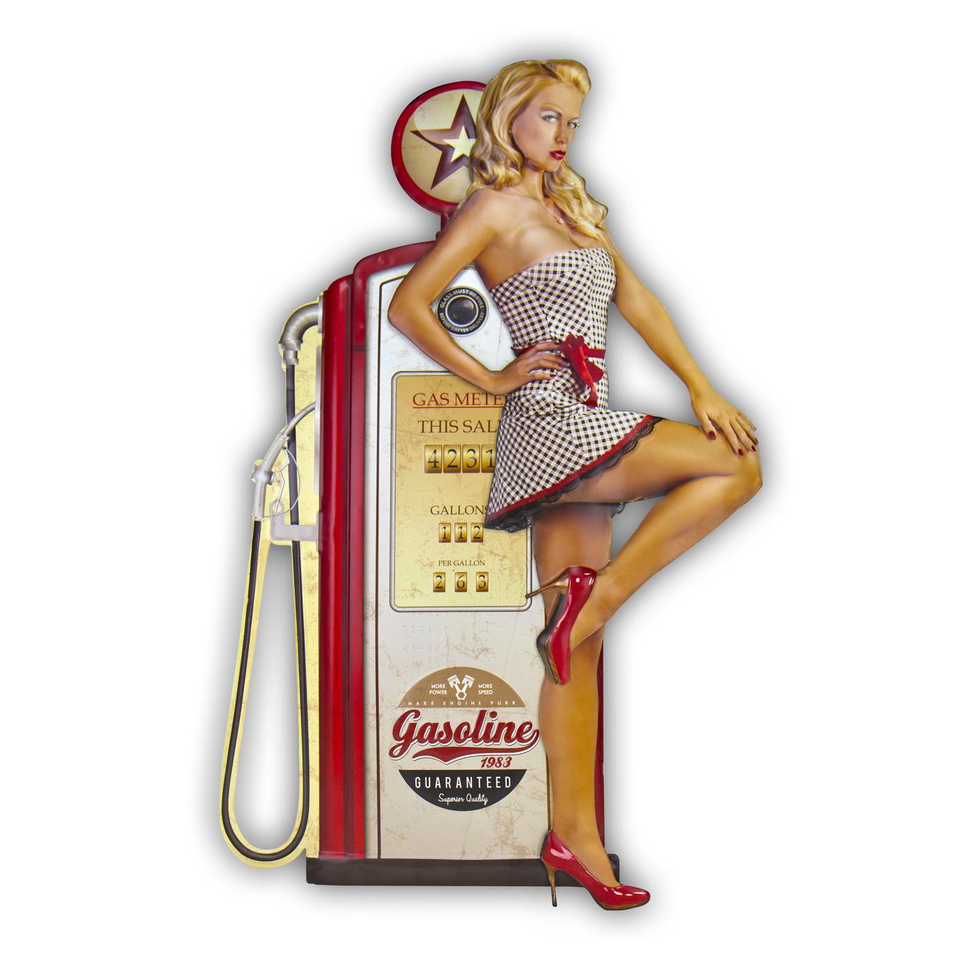 Panneau vintage Gasoline Pin up blonde