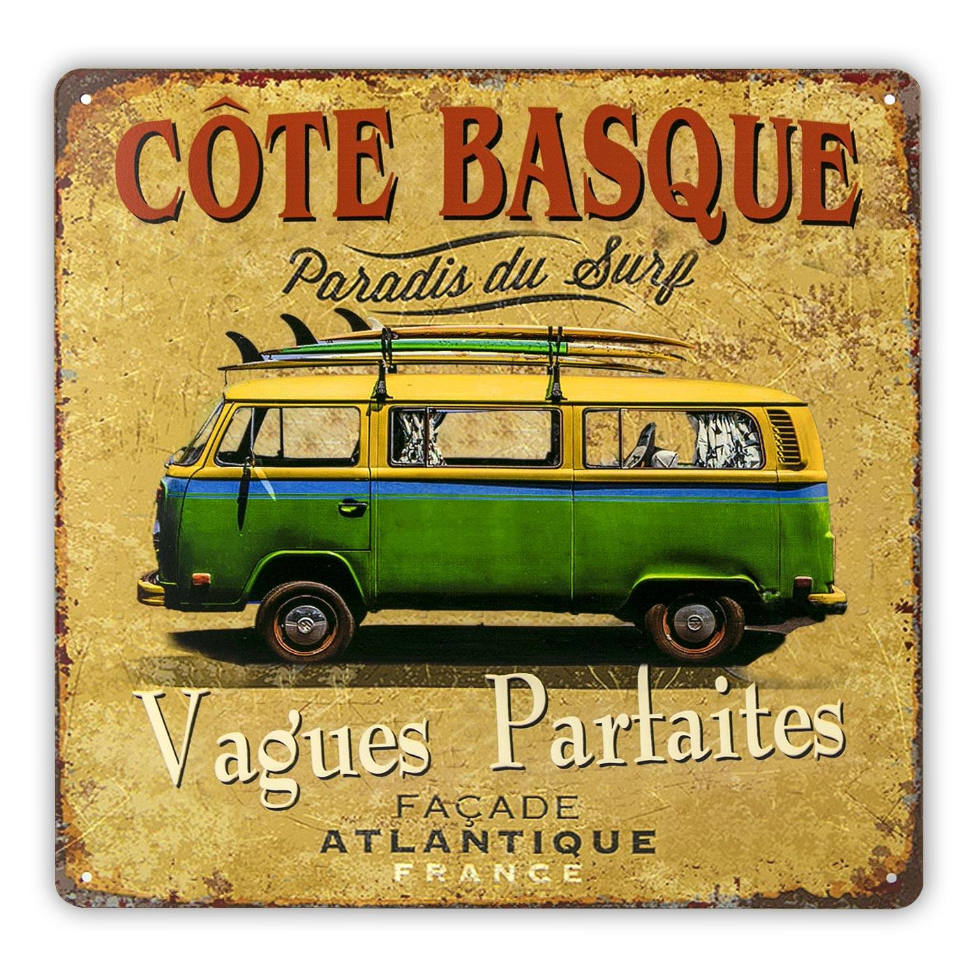 Plaque Vw combi surf côte basque