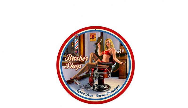 Plaque ronde pin up barber shop