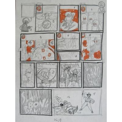 Lapone, Antonio - crayonné original de planche - Antique Detective Agency