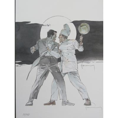 Hermann - Ex-libris Lune de guerre signé