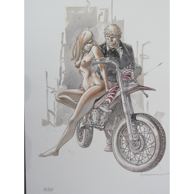 Hermann - Ex-libris Jérémiah, la femme à la moto  signé