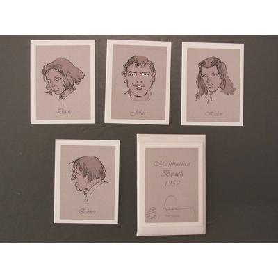 Hermann - Ex-libris Manhattan Beach 1957-4 croquis - signé