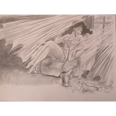 Walthéry - Lithographie Pin-up - signée + dédicace