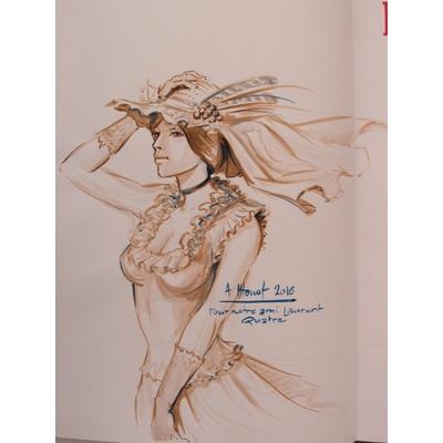 Houot André - Une biographie de G.Courbet+dessin original+Estampe signée
