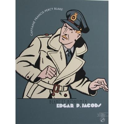 E.P.Jacobs - Sérigraphie Portrait du capitaine Black