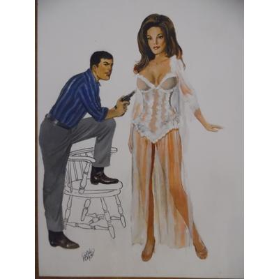 Forton - illustration originale Bob Morane + pin-up