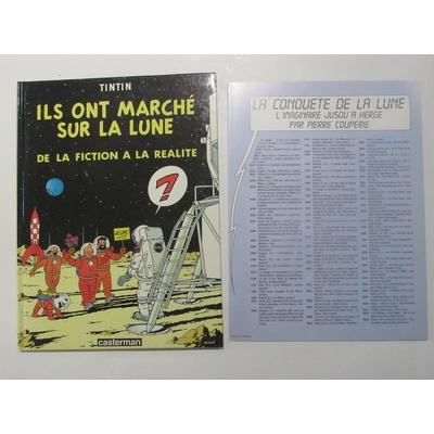 Tintin - Hergé- Ils ont marché sur la lune + feuille - EO(1985)