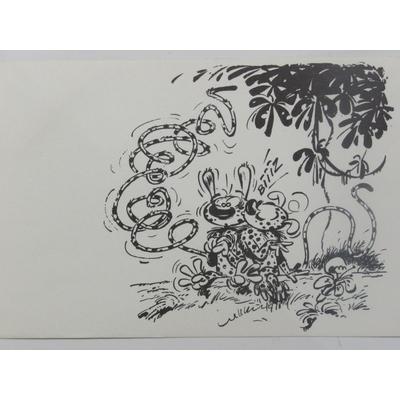 Franquin André - carte postale Marsupilami- Le baiser