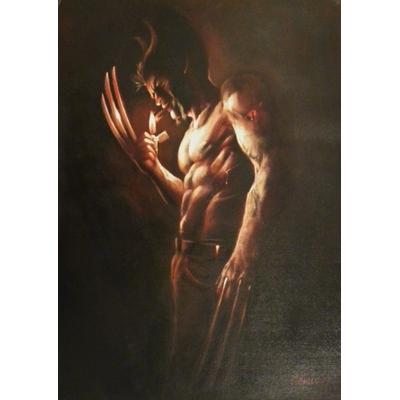"""Civiello Emmanuel - Peinture à l'huile de """"Wolverine"""" - grand format"""