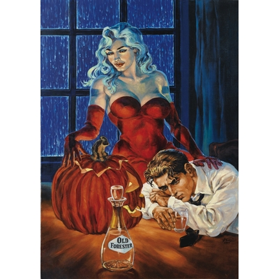 "Kas - peinture originale - Halloween blues""- grand format"