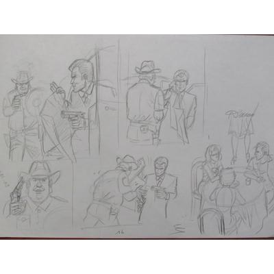 Renaud - illustration originale, crayonné de la  planche 16 - Les crabes