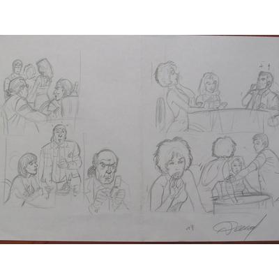 Renaud - illustration originale, crayonné de la planche 19 - Les crabes