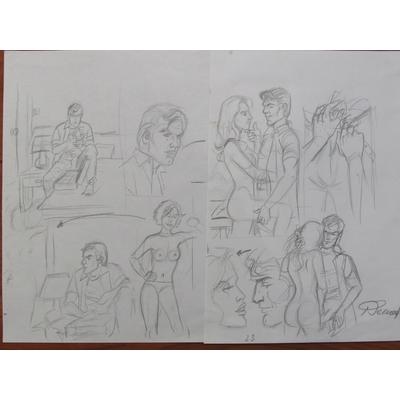 Renaud - illustration originale, crayonné de la planche 23 - Les crabes