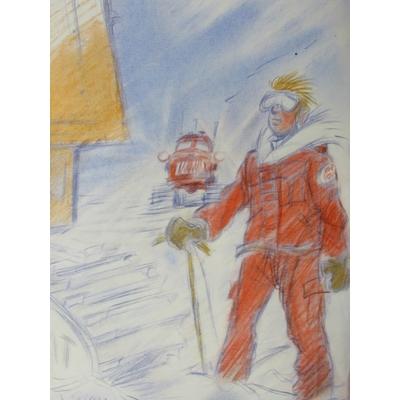 Benn André - Yves Boréal + dessin original + carnet de croquis - signé