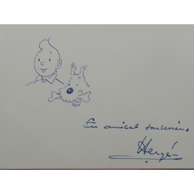 Hergé -Dédicace originale sur photo - Tintin et Milou