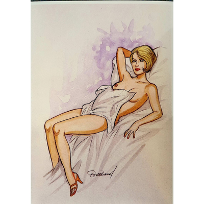 Les héroïnes de Renaud, illustration originale à l'aquarelle+portfolio limité à 48 ex