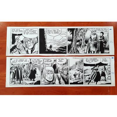 Forton Gerald -lot de 2 strips originaux Rodric et les Cathares