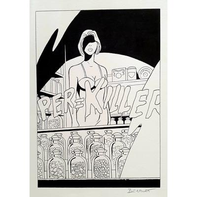 Berthet - illustration originale pour ex-libris -le crime qui est le tien
