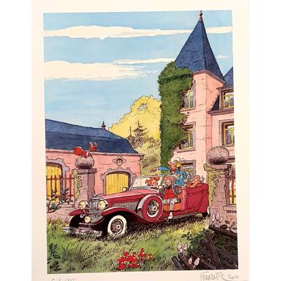 Fournier - ex-libris Spirou et Fantasio - signé