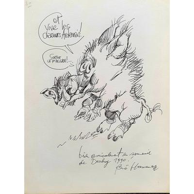Hausman Renè - illustration originale -hommage aux chasseurs ardennais