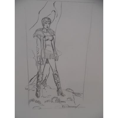 Renaud - dessin original pour ex-libris Jessica