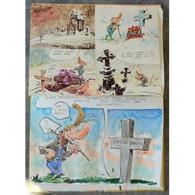 Hardy Marc - illustration originale ( dédicace en couleur) -Pierre Tombal T.4 + CP