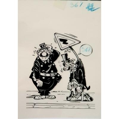 Kox Daniel - illustration originale( mise en couleur+film) -L'Agent 212 et le panneau