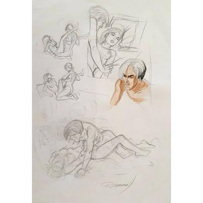Renaud - crayonné original pour une planche de Blousés