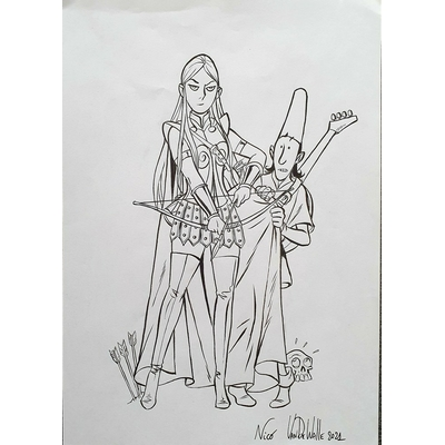 Van De Walle Nicolas - illustration originale - page de titre Adelin & Irina