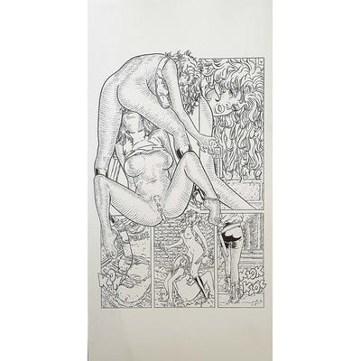 Inconnu - planche originale érotique, influence Moebius